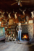 USA, California, Malibu, portrait of Mildred Millie Decker at her ranch home up in the hills in Decker Canyon, 75 year resident of Malibu