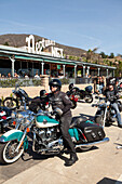 USA, California, Malibu, bikers in front of Neptunes Net Restaurant on the Pacific Coast Highway