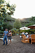 USA, California, Malibu, people dine and drink wine in the Malibu Hills at Saddleback Ranch