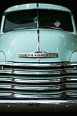 USA, California, Malibu, details of a classic Chevy pickup truck in the Malibu Hills at Saddleback Ranch