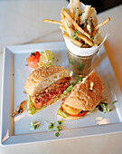 USA, California, Los Angeles, Beverly Hills, food shot of a hamburger and fries at The BLVD Restaurant, Beverly Wilshire Hotel, Four Seasons Resort on Rodeo Drive