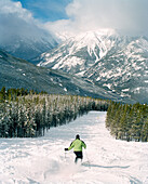 CANADA, person skiing with snow covered mountain in background, Panorama