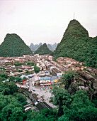 CHINA, elevated view of Guilin and limestone spires