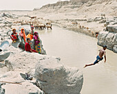 ERITREA, Foro, A family of Bedouin herders tend to their livestock