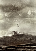 FIJI, surfer bailing out of a big wave, Frigates Pass (B&W)
