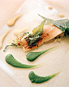 FRANCE, Arbois, a fish dish is served at Jean Paul Jeunet Restaurant, Jura Wine Region