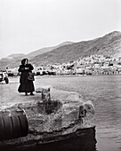 GREECE, Kalymnos, Dodecanese Island, ferry stop on the way from Athens to Patmos (B&W)