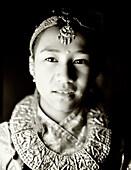 INDIA, West Bengal, traditional Gork'ar dancer, Darjeeling (B&W)