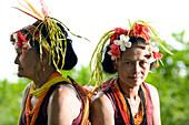 INDONESIA, Mentawai Islands, Kandui Resort, portrait of mature Mentawai women in traditional clothing