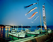 JAPAN, Kyushu, night shot of boats moored in Genkai harbor at night