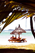 MAURITIUS, Chemin Grenier, South Coast, travellers enjoy the beach at hotel Shanti Maurice, the Indian Ocean in the distance
