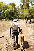 MAURITIUS, Flic en Flac, Lion tamer Marcelin Pierre-Louis walks with a lioness at Casela Nature and Leisure Park in western Mauritius
