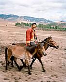 MONGOLIA, Gorkhi-Terelj National Park, a man on horseback leads a horse to his farm and home