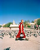 MONGOLIA, Ulaanbaatar, young monk walking with a pot of tea at the Gandan Monastery
