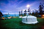 MONGOLIA, Khuvsgul National Park, night shots of the Toilogt ger camp at Khovsgol Lake