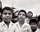 PANAMA, David, Guadalupe, school kids in the mountain town of Guadalupe, across the street from the Los Quetzales Lodge, Central America (B&W)