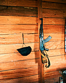 PANAMA, Cana, an automatic weapon hangs on a wall of the Cana Field Station located near the Colombian Boarder, Darien Jungle, Central America