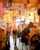 USA, Utah, people socializing at the No Name Bar, Park City