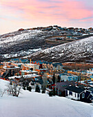 USA, Utah, scenic view of Park City Ski Resort and town at dusk