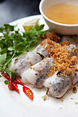 VIETNAM, Hanoi, traditional street food restaurant called Quan An Ngon, white noodle with BBQ pork, Bun Cha