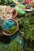 VIETNAM, Hue, produce and eggs for sale at a roadside market in rural Hue
