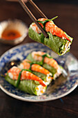 VIETNAM, Saigon, Cuc Gach Quan restaurant in District 1, Vietnamese spring rolls topped with a shrimp, Ho Chi Minh City