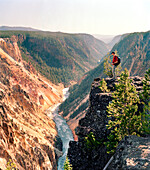USA, Wyoming, man standing on cliff edge looking into Yellowstone Canyon, Yellowstone National Park