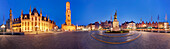 360 ° panorama of the vast Grote market in the old town of Bruges, with gothic Town Hall, belfry and monument of Jan Breydel and Pieter de Coninck in the foreground, Flanders, Belgium