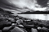 Black and white shot of the rugged terrain of the Lyngen Fjord in Autumn, Troms, Norway