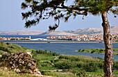 View towards Pag, Island of Pag, Dalmatia, Adriatic Coast, Croatia
