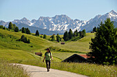 Person hiking in the Buckelwiesen, Karwendelrange near Mittenwald, Bavaria, Germany