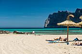 Beach scene at Cala de Sant Vicenc, near Pollenca, Majorca, Spain