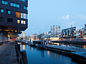 Architecture at Sandtor harbour in Harbour City at dusk, Sandtorhafen, Hanseatic City of Hamburg, Germany