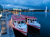 Excursion boats on the Binnenalster at dusk, Hanseatic City of Hamburg, Germany