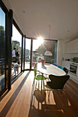Terrace and kitchen of a houseboat, Eilbek canal, Hamburg, Germany