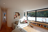 Living room area of a house boa, Eilbek canal, Hamburg, Germany