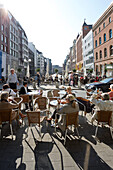 Outdoor seating area of Coffee Shop, Poststrasse, Hamburg, Germany