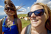 Two young women laughing, herd of cows in background, Alpe-Adria-Trail, Nockberge, Carinthia, Austria