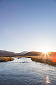 Hot Creek in sunset, Mammoth Lakes, California, USA