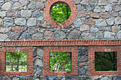 Natural stone wall of an old stable, Kroechlendorff castle, Kroechlendorff, Uckermark, Brandenburg, Germany