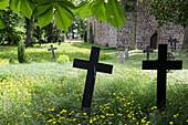 Old graveyard near fieldstone church, Thomsdorf, Boitzenburger Land, Uckermark, Brandenburg, Germany