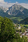 Windischgarsten seen from Kalvarienberg, Haller Mauer, Grosser Pyhrgas, Northern Limestone Alps, Upper Austria, Austria