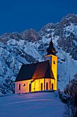 Chapel near Dienten at night, Hochkoenig, Salzburg Land, Austria