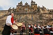 Galician folklore, Cathedral, Praza do Obradoiro, Santiago de Compostela, A Coruña province, Galicia, Spain