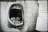 graffitti, closeup of an open mouth