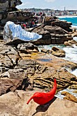Sculpture by the Sea, annual exhibition at the Bondi - Tamarama coastal walk  ´The Chilly´ by Subodh Kerkar and ´eridanus´ a rock wrapped in self adhesive crome polyester by Susan J  Foster & Christophe Domergue
