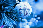 Christmas decoration  Cristal baubles and on tree