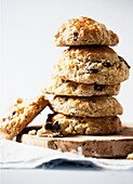 Stack of scones with chocolate