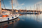 France, Corsica, Corse-du-Sud Department, Corsica South Coast Region, Propriano, town marina, sunset