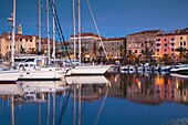 France, Corsica, Corse-du-Sud Department, Corsica South Coast Region, Propriano, town marina, dusk